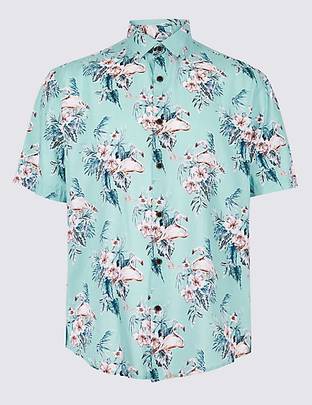 Cotton Rich Floral Print Shirt