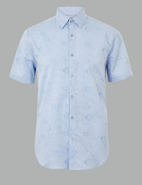 Cotton Rich Flower Print Shirt