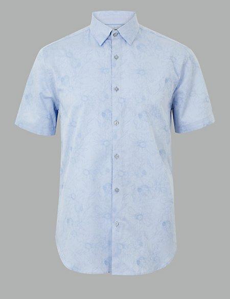Cotton Rich Flower Print Shirt