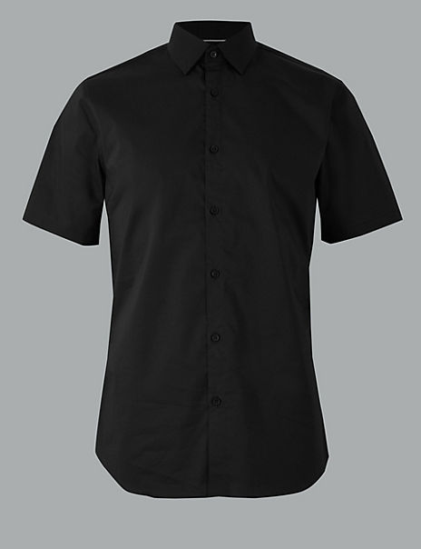 Cotton Rich Shirt with Stretch