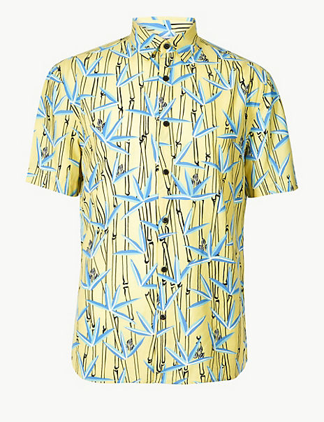 Cotton Rich Bamboo Print Shirt