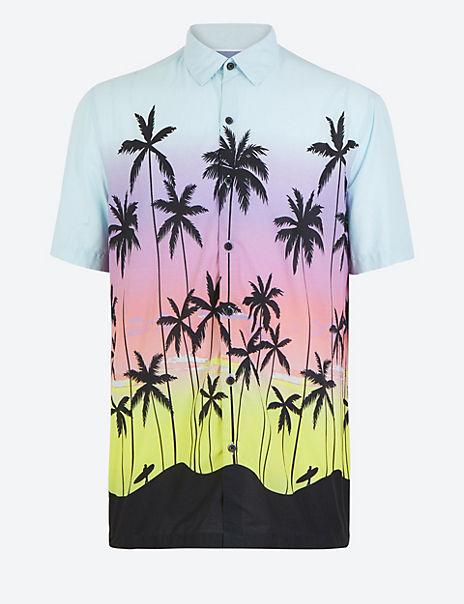 Cotton Rich Palm Print Shirt