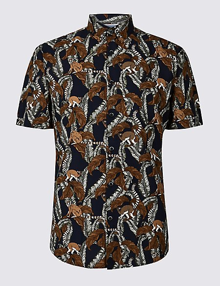 Slim Fit Lemur Print Shirt