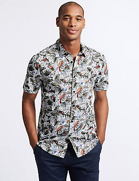 Slim Fit Chameleon Print Shirt