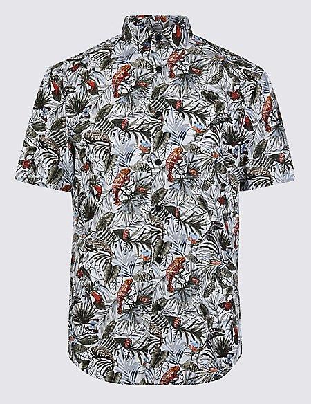 Slim Fit Chameleon Print Shirt