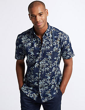 Cotton Rich Slim Fit Printed Shirt
