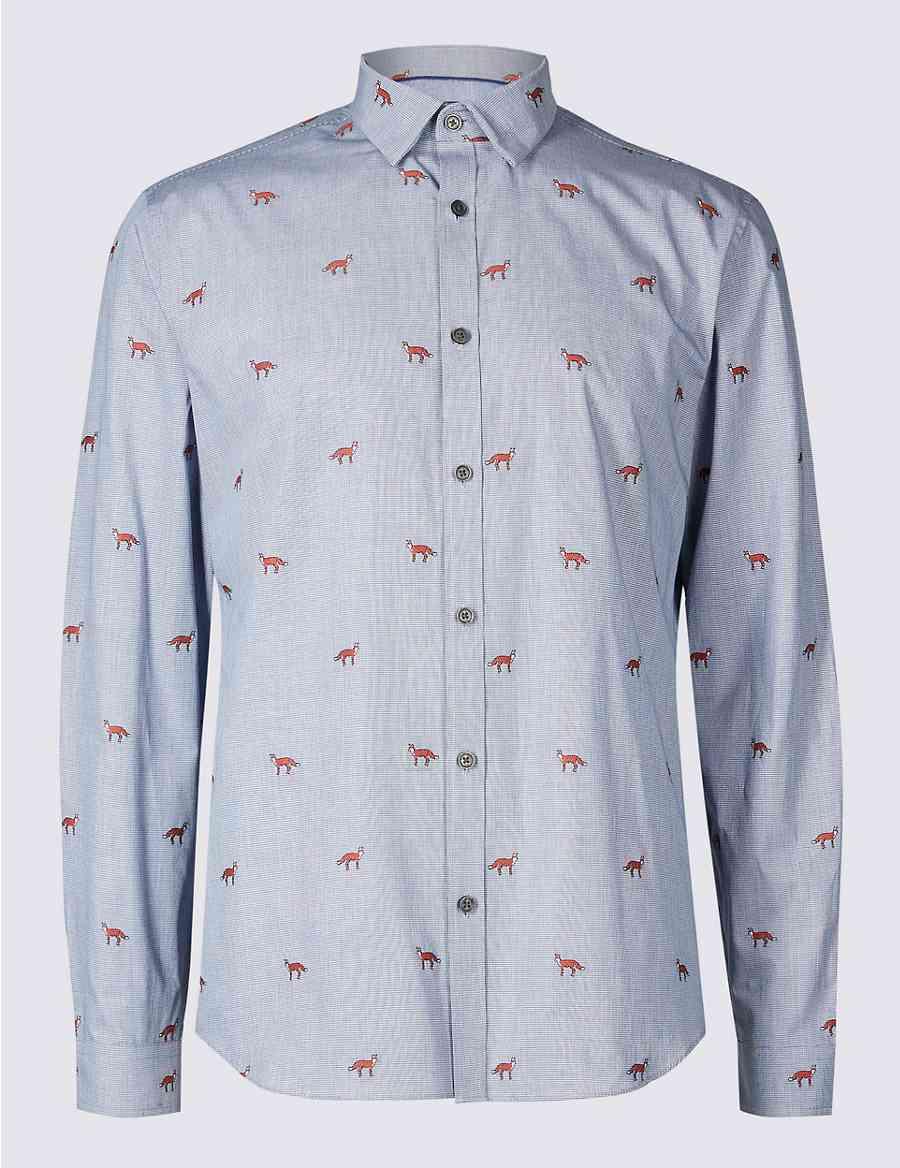 41c5c7bb1d Pure Cotton Slim Fit Fox Print Shirt