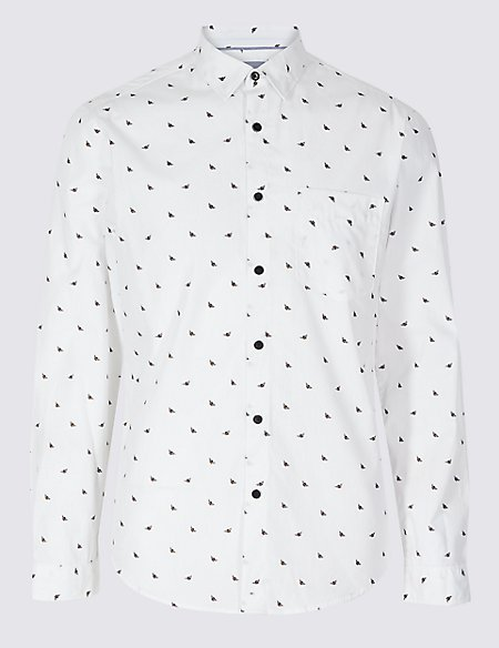Pure Cotton Slim Fit Printed Shirt with Pocket