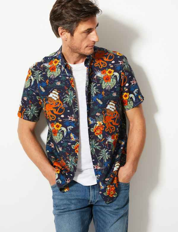 5a53b7393be Cotton Rich Hawaiian Palm Print Shirt