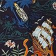 Cotton Rich Hawaiian Palm Print Shirt, NAVY MIX, swatch