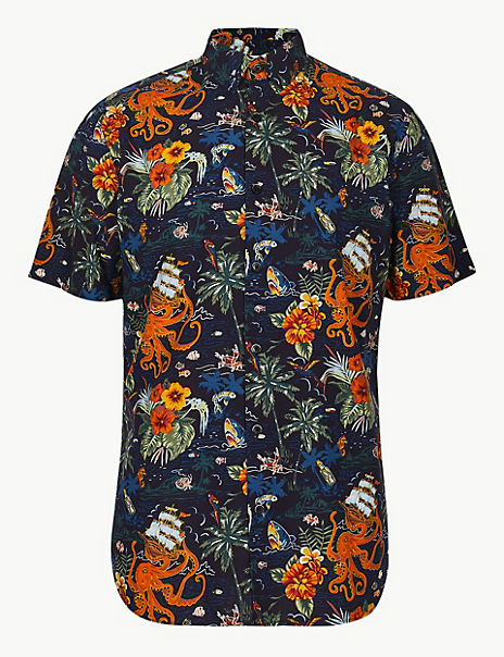 0a286f3b Cotton Rich Hawaiian Palm Print Shirt | Limited Edition | M&S