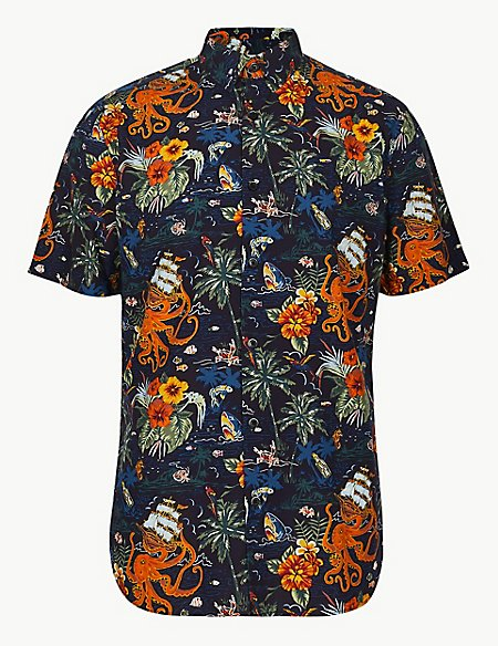Cotton Rich Hawaiian Palm Print Shirt