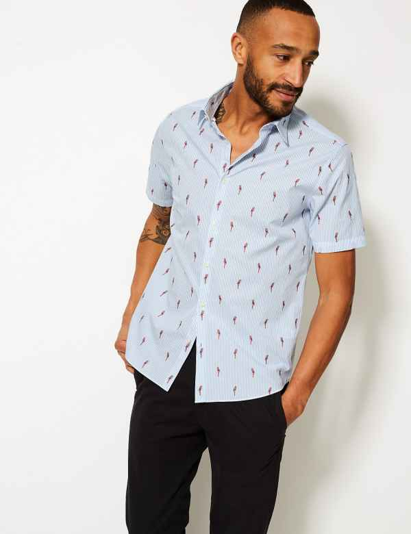 788befbd98a Pure Cotton Parrot Print Shirt. New and Improved Fit