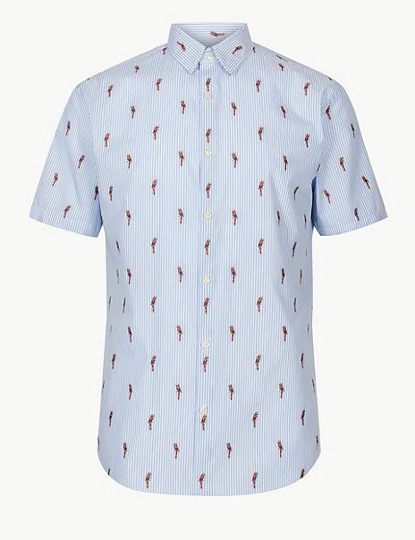Pure Cotton Parrot Print Shirt
