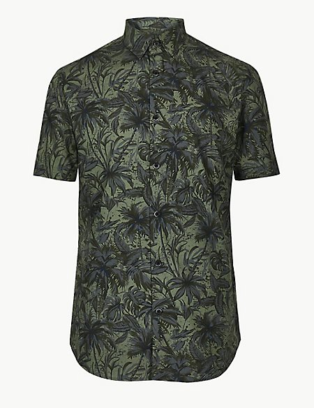 Pure Cotton Palm Print Shirt