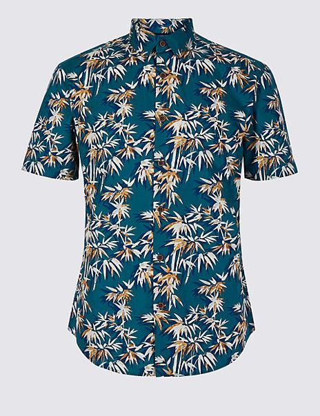 Slim Fit Bamboo Print Shirt