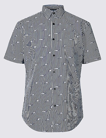 Slim Fit Shark Print Shirt