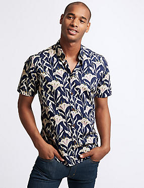 Slim Fit Batik Floral Print Shirt