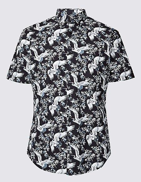 Slim Fit Crane Print Shirt