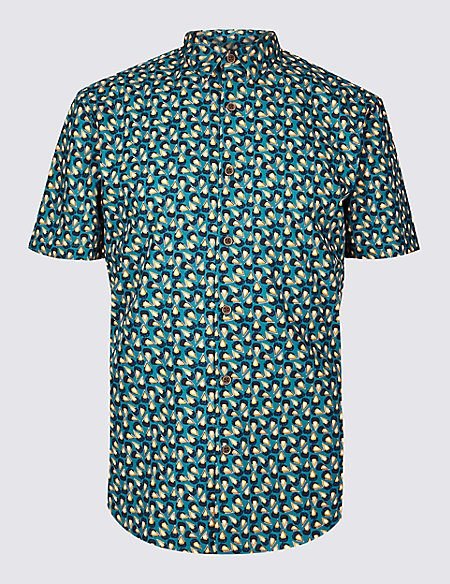Slim Fit Tear Drop Print Shirt