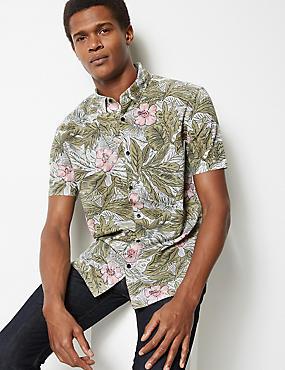 14f72aff6e8 Cotton Rich Flower Print Shirt ...