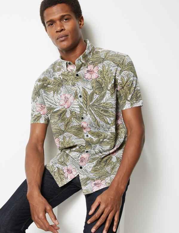 f40401c8b12 Cotton Rich Flower Print Shirt. New
