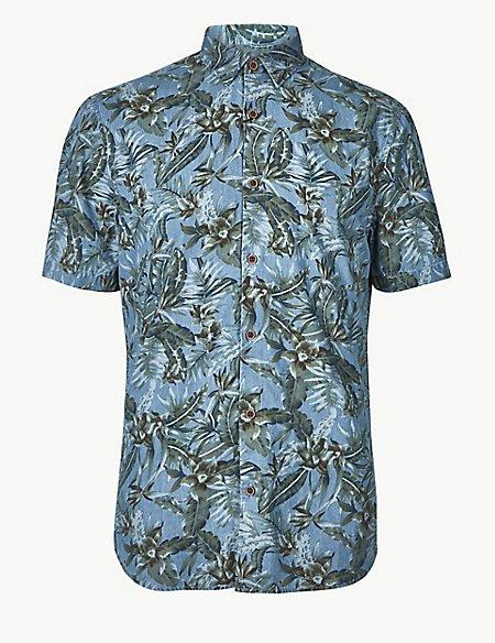 Pure Cotton Flower Print Shirt