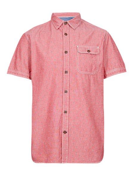 Pure Cotton Contrast Print Shirt