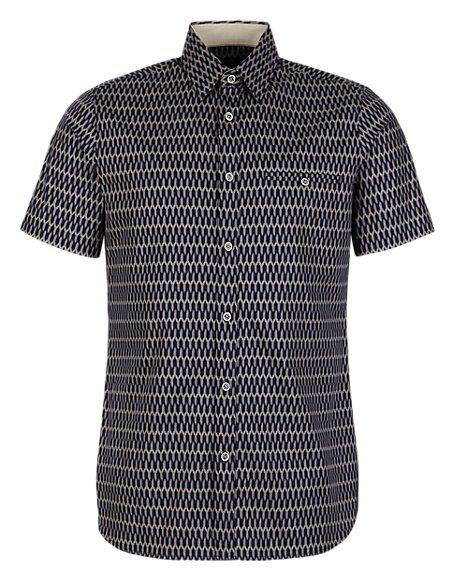 Supima® Cotton Slim Fit Y Print Shirt