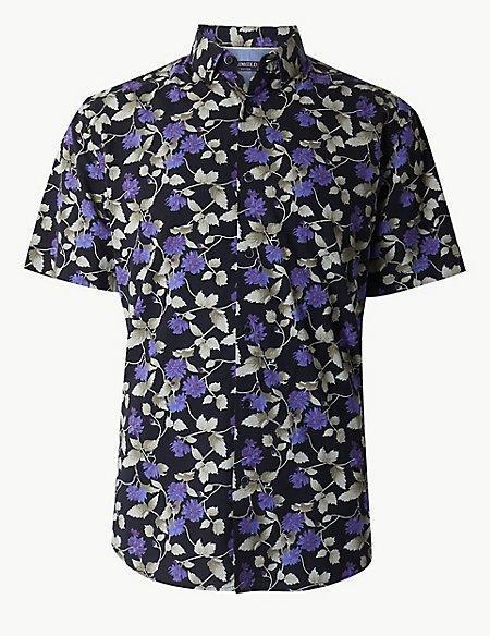 Cotton Rich Floral Print Shirt
