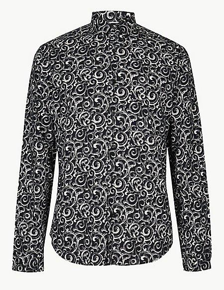 Cotton Rich Dark Swirl Print Shirt