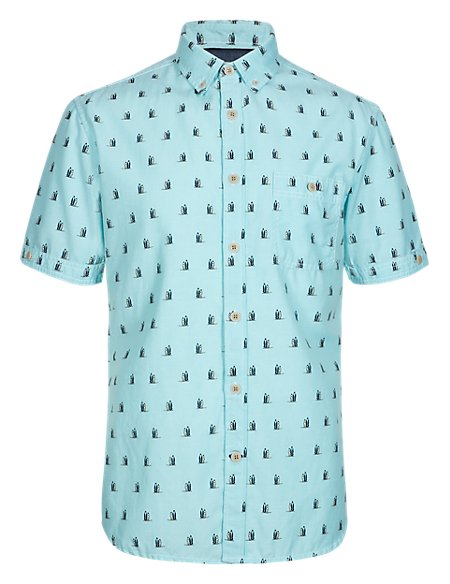 Pure Cotton Tailored Fit Surf Board Print Shirt