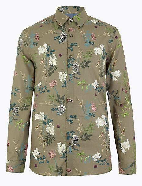 Cotton Floral Slim Fit Shirt