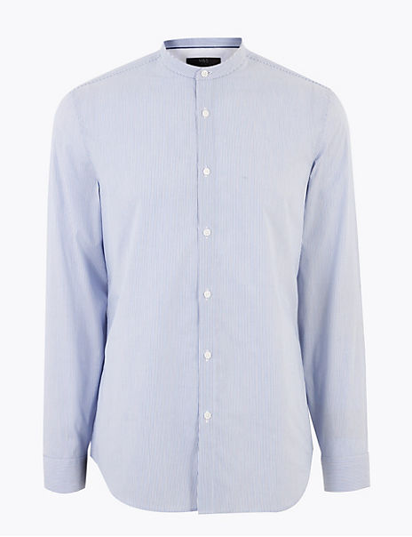 Pure Cotton Grandad Slim Fit Shirt