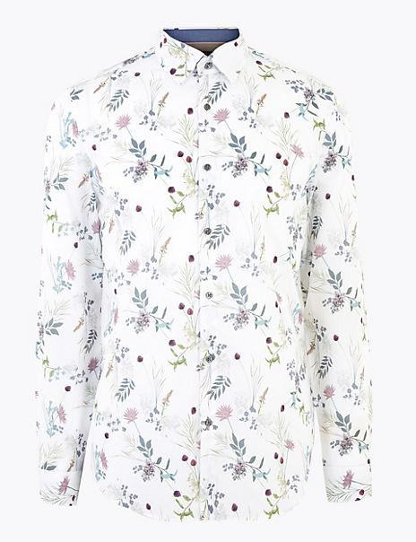 Pure Cotton Floral Slim Fit Shirt