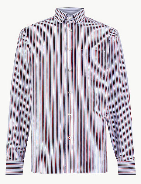 Pure Cotton Striped Relaxed Fit Shirt