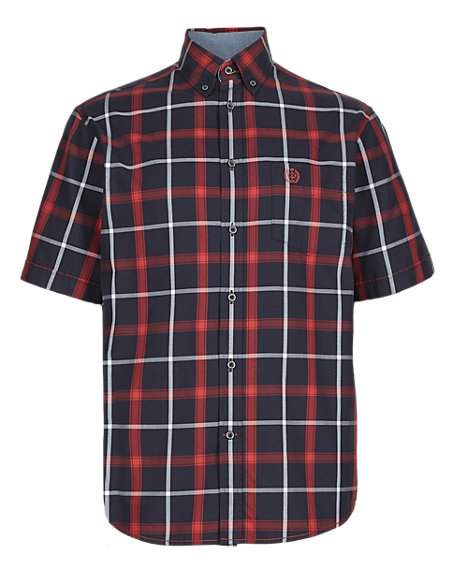 Pure Cotton Short Sleeve Large Grid Checked Shirt