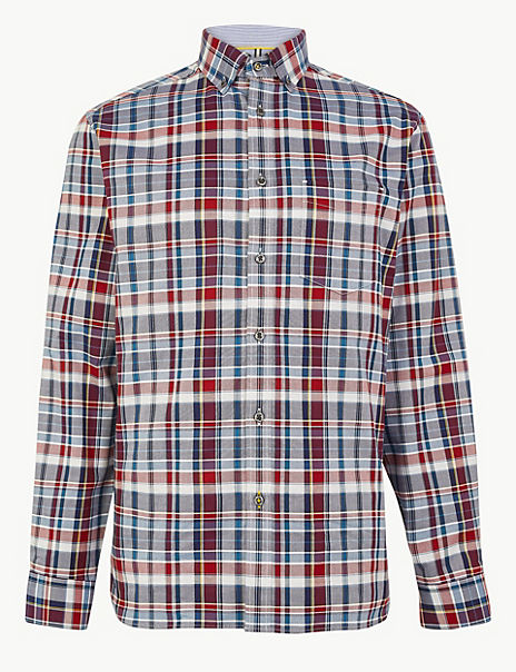 Pure Cotton Checked Relaxed Fit Shirt