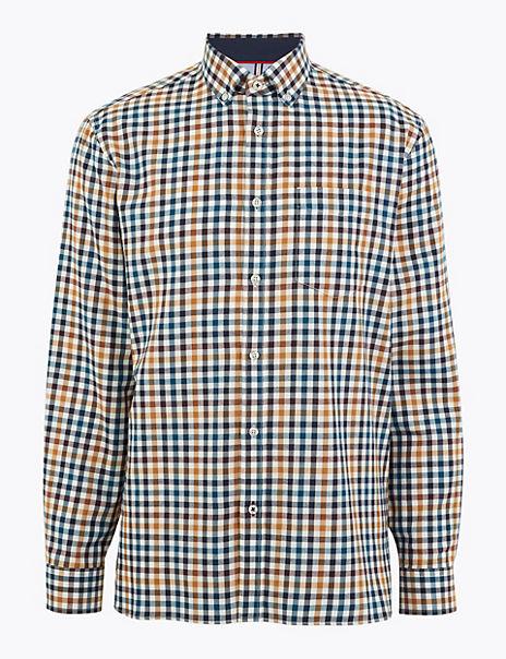Cotton Blend Checked Shirt