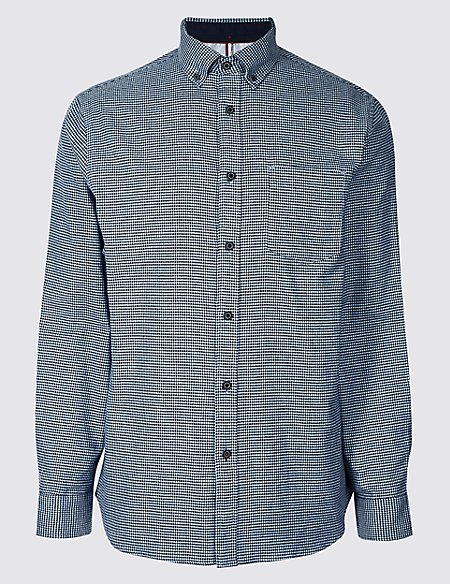 Pure Cotton Textured Shirt with Pocket