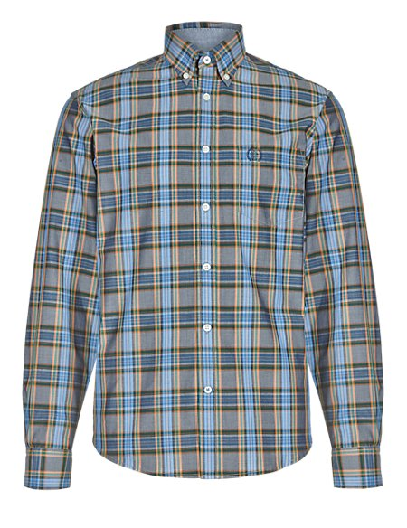 Pure Cotton Long Sleeve Square Checked Shirt