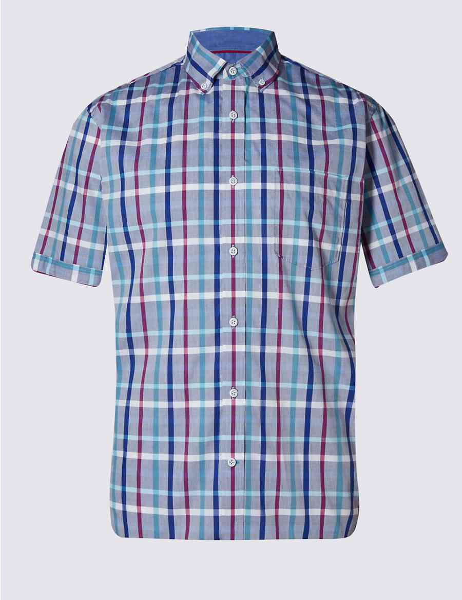 1c2a0419b5 Pure Cotton Multicoloured Checked Shirt | Blue Harbour | M&S