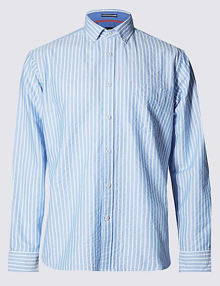 Pure Cotton Premium Seersucker Striped Shirt