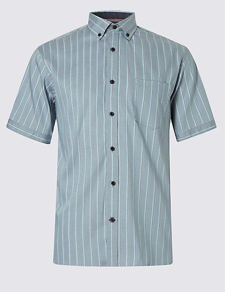 Luxury Pure Cotton Short Sleeve Striped Shirt