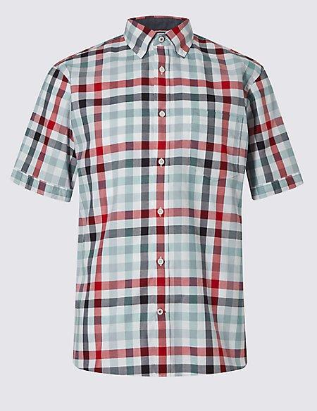 Pure Cotton Short Sleeve Block Checked Shirt