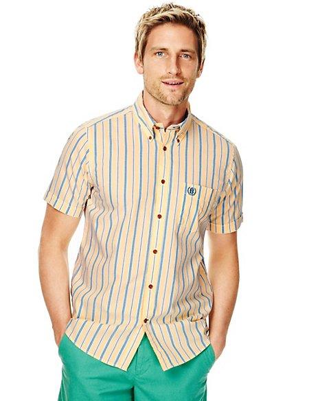 Pure Cotton Slim Fit Double Striped Oxford Shirt