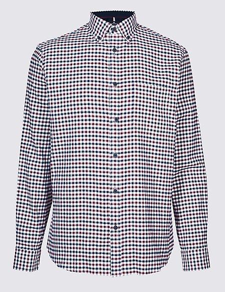 Luxury Brushed Cotton Checked Shirt