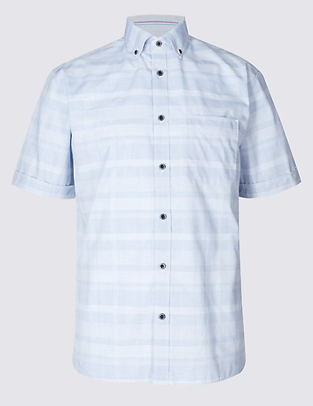 2in Longer Pure Cotton Checked Shirt with Pocket