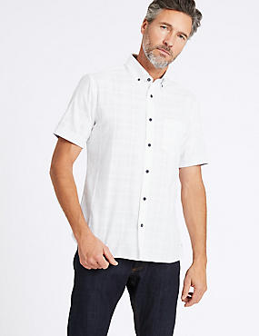 Pure Cotton Slim Fit Shirt with Pocket, WHITE, catlanding