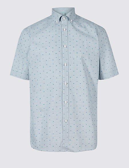 Pure Cotton Spot Textured Shirt
